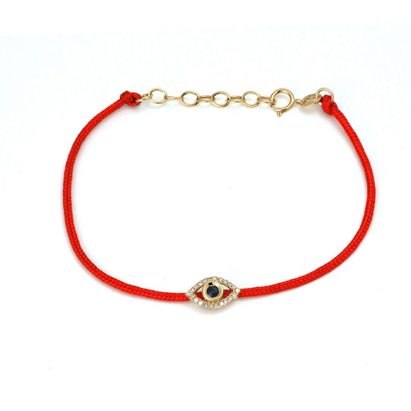 14 KT Diamond Cord Evil Eye Bracelet
