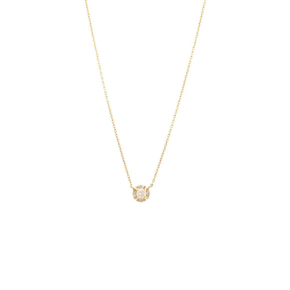 14 KT Halo Set Diamond Necklace Rose gold