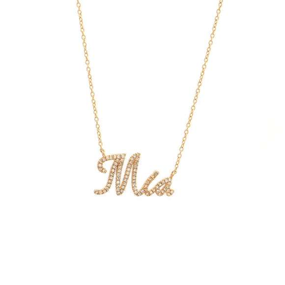 14 KT Micro Pave Diamond Name Necklace