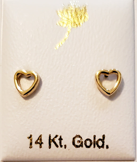 18 KT Baby Open Heart screw back earrings