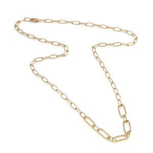 14 KT Diamond Paper Clip Necklace Fashion