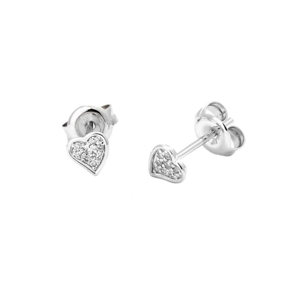 14 KT Tiny Diamond Heart earrings .05 ct genuine diamonds clutch backs