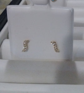 14KT Baby Wave CZ. white gold screw back earrings