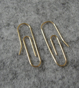 14 KT Teen Paper Clip polished gold wire earrings