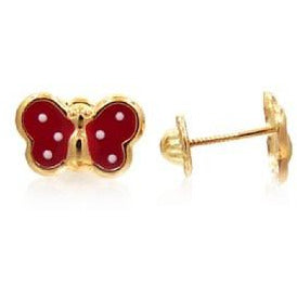 14 KT Children's butterflies red polka dots screw backs