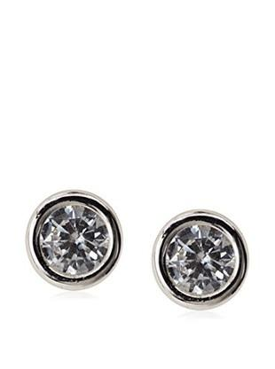 14 KT Children's White gold CZ Bezel screw back earrings