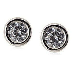 14 KT White gold round bezel cz 4mm. screw back earrings