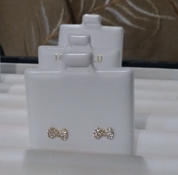 14 KT Baby Bows CZ. stud earrings