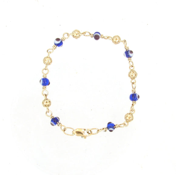 14 KT Dark blue Children's lucky evil eye lucky bracelets