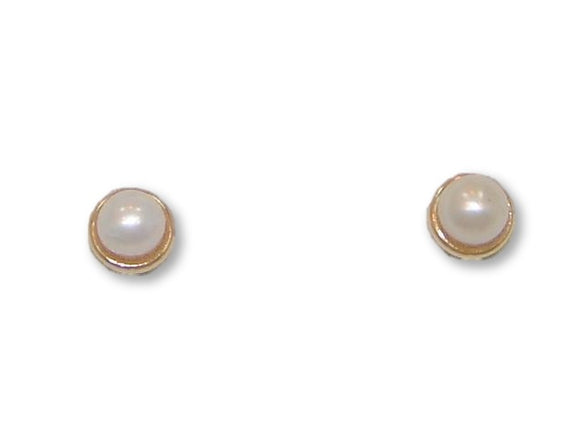 14 KT Baby Pearl + trim Screw Back Earrings