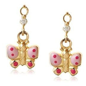 14 KT Children's Butterfly Dangle screw back