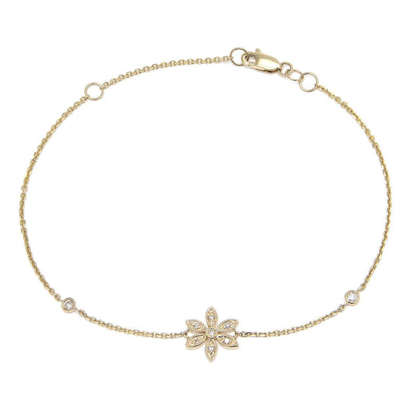 14 KT Diamond clover bracelet with bezels