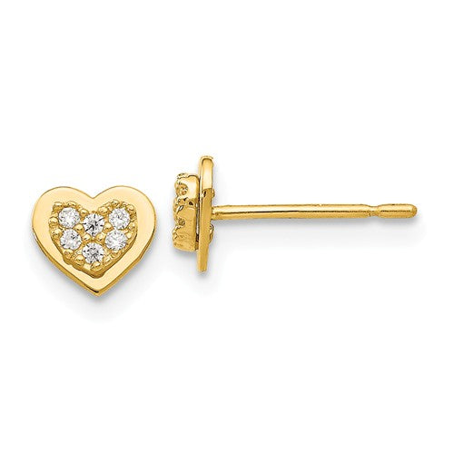 14 KT Hearts and Sparkle stud earrings