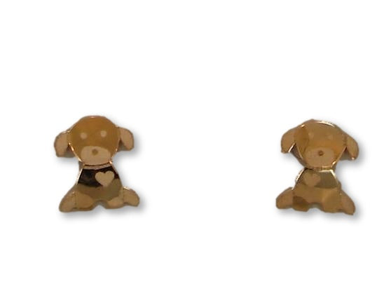 14 KT Children's Dog screw back earrings