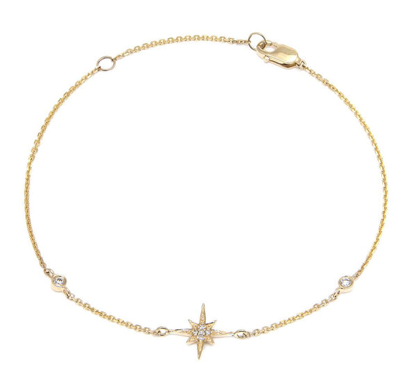14 KT Diamond north star bracelet with bezels