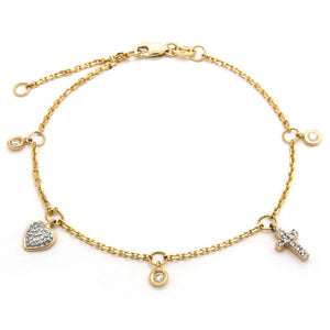 "14 KT Diamond cross heart bezel bracelet 6"" + 1"
