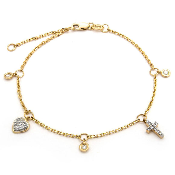14 KT Diamond cross heart bezel bracelet 6