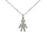 Boy pendant diamond Sterling Silver charm and chain 16-18 inches