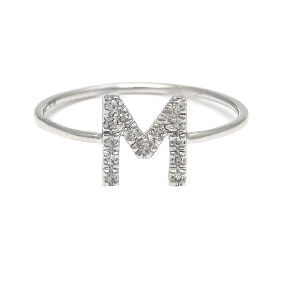 14 KT Diamond Letter Ring