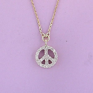 Diamond Peace sign necklace yellow gold 16-18 inches adjustable