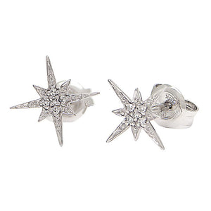 14 KT white gold star burst with diamond accent stud earrings
