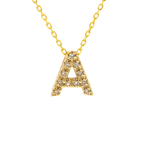 14 KT Yellow gold mini diamond alphabet letter necklace with 18 inch chain
