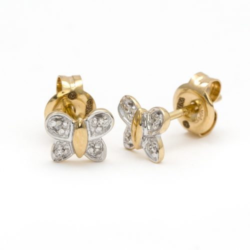 14 KT Children's Diamond Butterfly stud Earrings