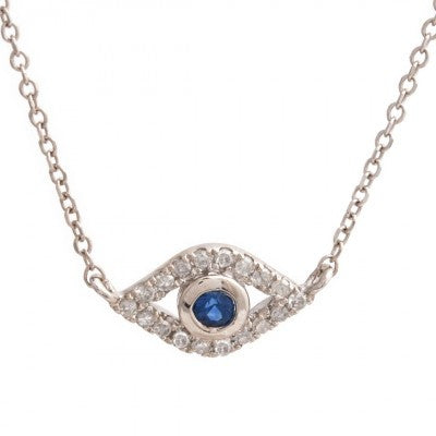 Sterling Teen Diamond evil eye necklace sterling silver