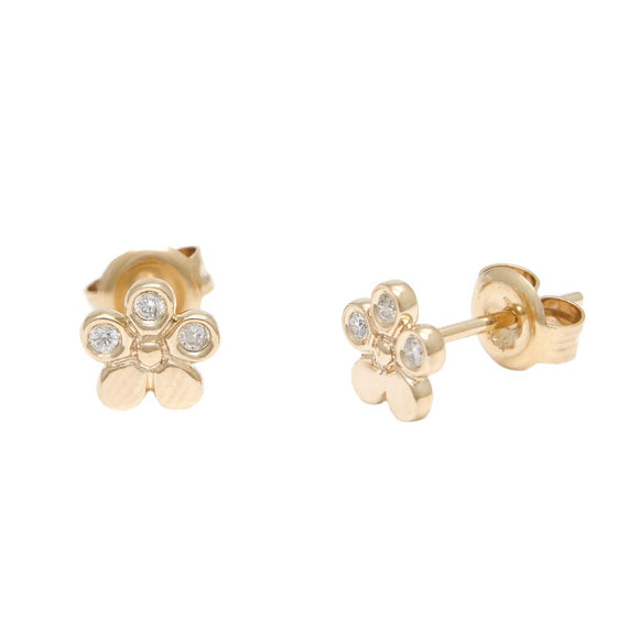 14 KT Petite Diamond flower stud Earrings