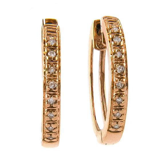 14 KT Small Diamond Hoop earrings