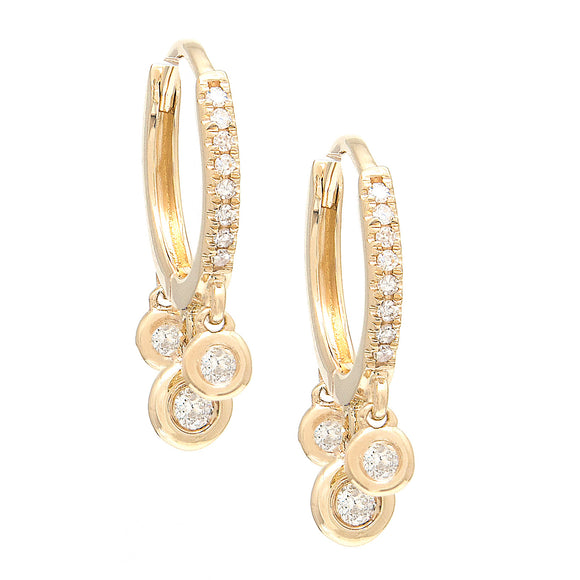 14KT Diamond and bezel dangles Huggie Earrings