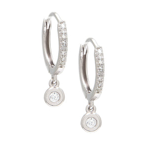 14 KT Diamond huggie with bezel drop earrings