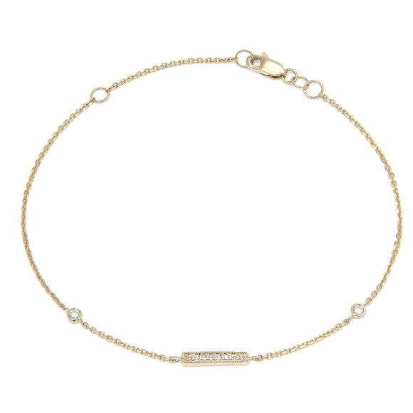 14 KT Diamond mini bar bracelet with bezels