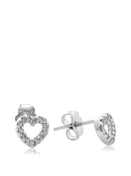 14 KT Children's Diamond Heart Earrings