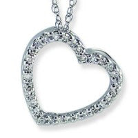 14 KT Children's Diamond Pave Heart Slide Necklace