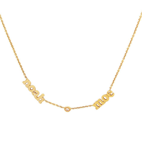 14 KT Multiple Name Necklace with diamonds