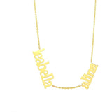 Script Multi Name Silver or Gold Plated Necklace