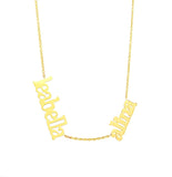 14 KT Script Multi name necklace