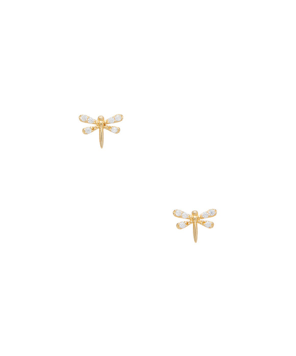14 KT Dragonfly with CZ children's Silicone clutch stud earrings