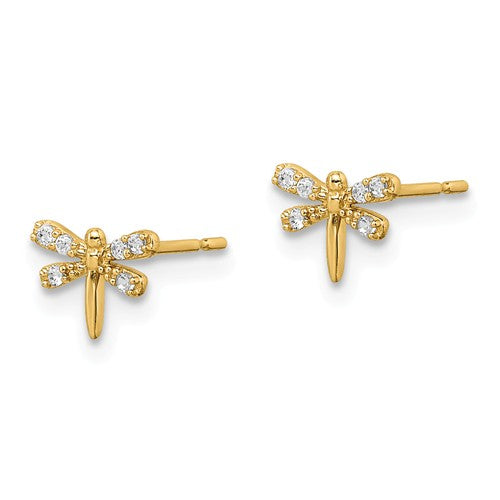 14 KT Children's Dragonfly CZ. stud earrings