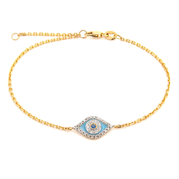 14 KT Diamond eye sapphire and diamond yellow gold bracelet 6