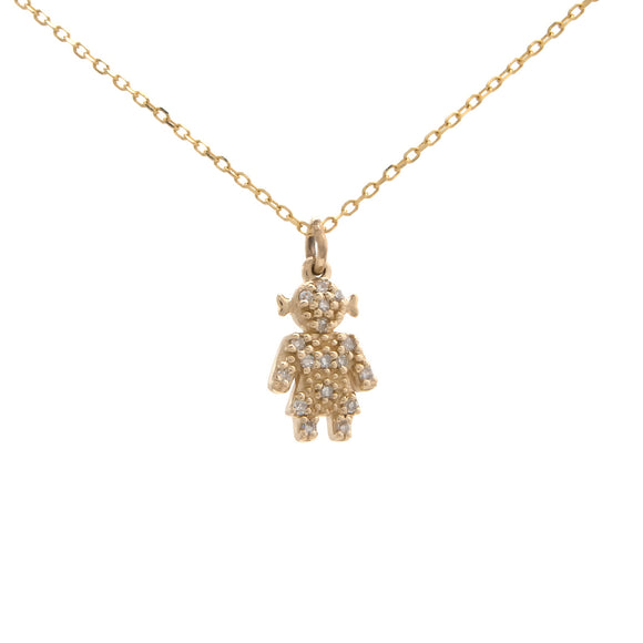 14 KT Diamond girl Necklace