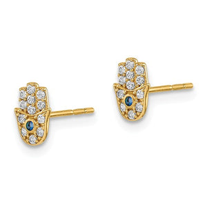 14 KT Children's Hamsa CZ. stud earrings