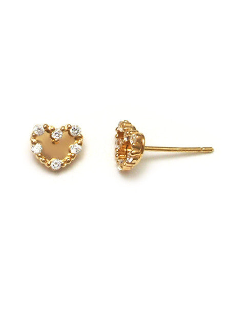 Baby gold heart earrings