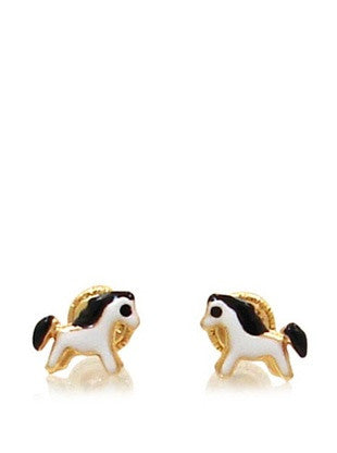 kids's gold white horse earrings