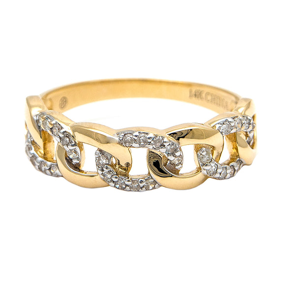 14 KT Link diamond curb ring