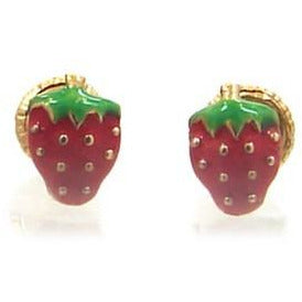 Baby 14 KT Gold strawberry screw back earrings