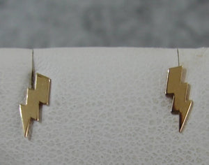 14 KT Children's Mini Lightening Bolt Screw Back Earrings