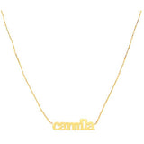 14KT gold name necklace single name necklace hand built loops