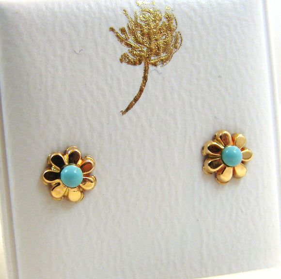14 KT Baby Turquoise bead daisy screw back earrings